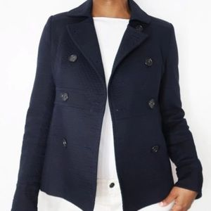 J. Crew Navy Blue Quilted Double Button Jacket
